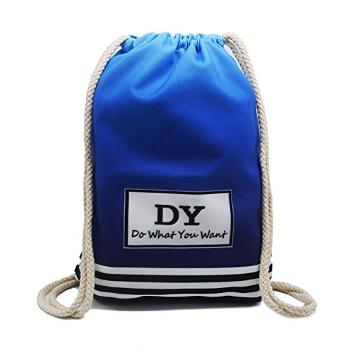 Artone Gradient Blue Canvas Drawstring Bag Travel Daypack Sports Portable Backpack
