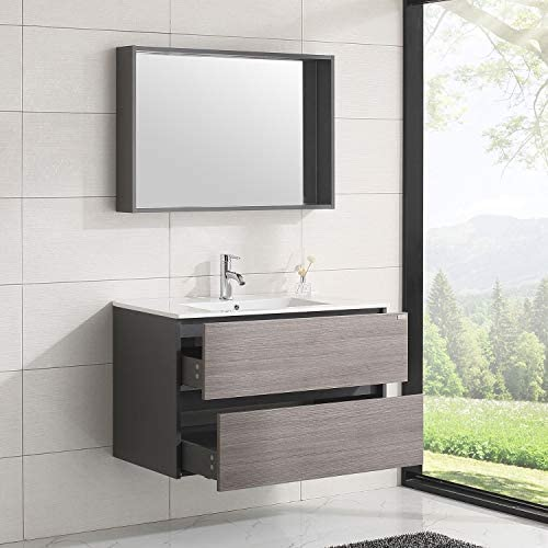 WONLINE 36 Wall Mounted Bathroom Vanity Set Two Drawers Storage Cabinet with Ceramic Vessel Sink and Mirror Combo Chrome Faucet