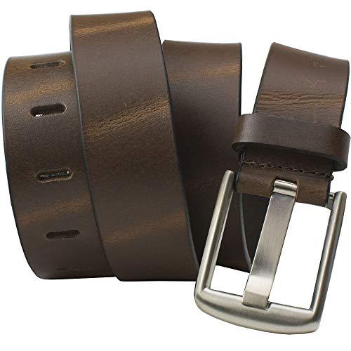 Brown Wide Pin Belt - Nickel Smart - Full Grain Leather Belt with Nickel Free Zinc Buckle - ()