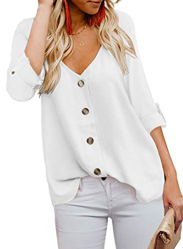 BLENCOT Women's Autumn V Neck Long Sleeve Button Up Shirts Casual Loose Fit Blouses Tops Work White XL