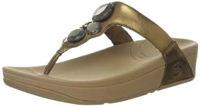 FitFlop Women's Lunetta Thong Sandal,Bright Bronze,4 M US