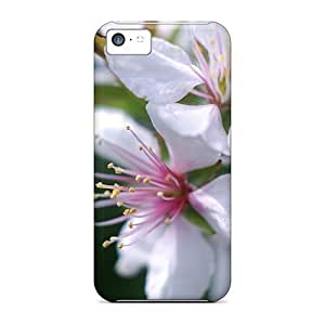 Anti-scratch And Shatterproof White Flowers Phone Case For Iphone 5c/ High Quality Tpu Case