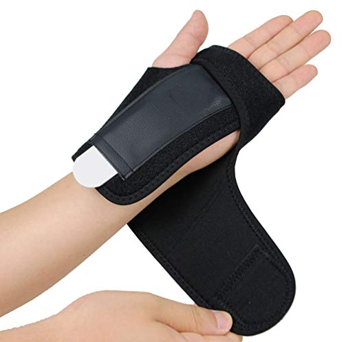 Splint Removable (Gelible Hand & Wrist Brace Support, Removable Splint, Prevent Wrist Injury, Palm Band, Relieve for Carpal Tunnel Syndrome,Tendonitis and Arthritis Pain,One Size Fits Most, Black (Left))