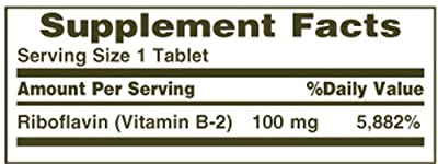 Nature's Bounty Vitamin B2, 100mg, 100 Tablets (Pack of 4)