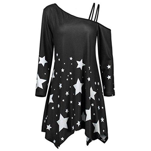 Star Tops For Women Strapless Blouse Girl Pullover Skew Collar Mini Dress (M, Black) (Mini Star Pop)