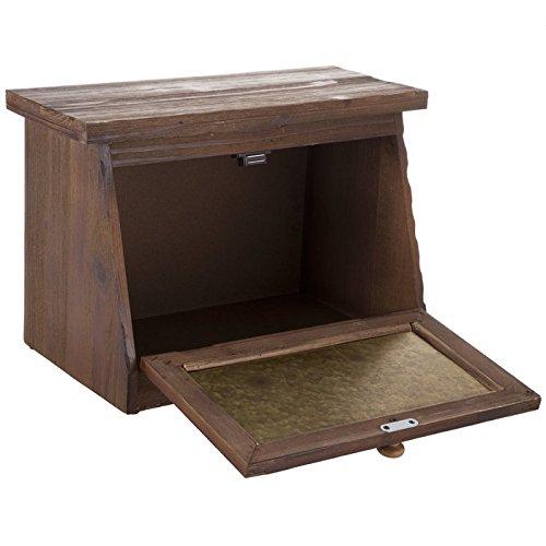 Generic Farmhouse Bread Box for Kitchen Counter - Rustic Wood Bread Bin Storage,Grey Metal