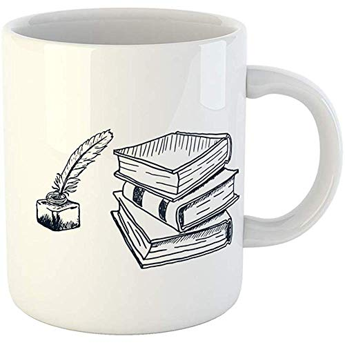 Coffee Tea Mug Gift 11 Ounces Novelty Ceramic Sketch Stack of Books Blank Bookcase Bookmark Gifts For Family Friends Coworkers Boss - Bookcase Boss