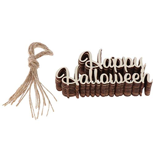 10pcs Halloween Wooden Tags Gift Tags Wood Slice Embellishments for Halloween Party Decoration - Happy Halloween ()