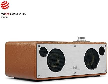 GGMM M3 Retro Wi-Fi Bluetooth Wireless Leather Speaker for Music Streaming | Featuring Powerful 40W Audio Driver, Enhanced Bass, Multi-Room Play, Airplay, DLNA, Spotify, iHeart radio (Camel)