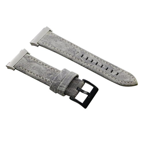 Lisin Classic Leather Wristband With Metal Connectors For Fitbit Ionic (Gray)