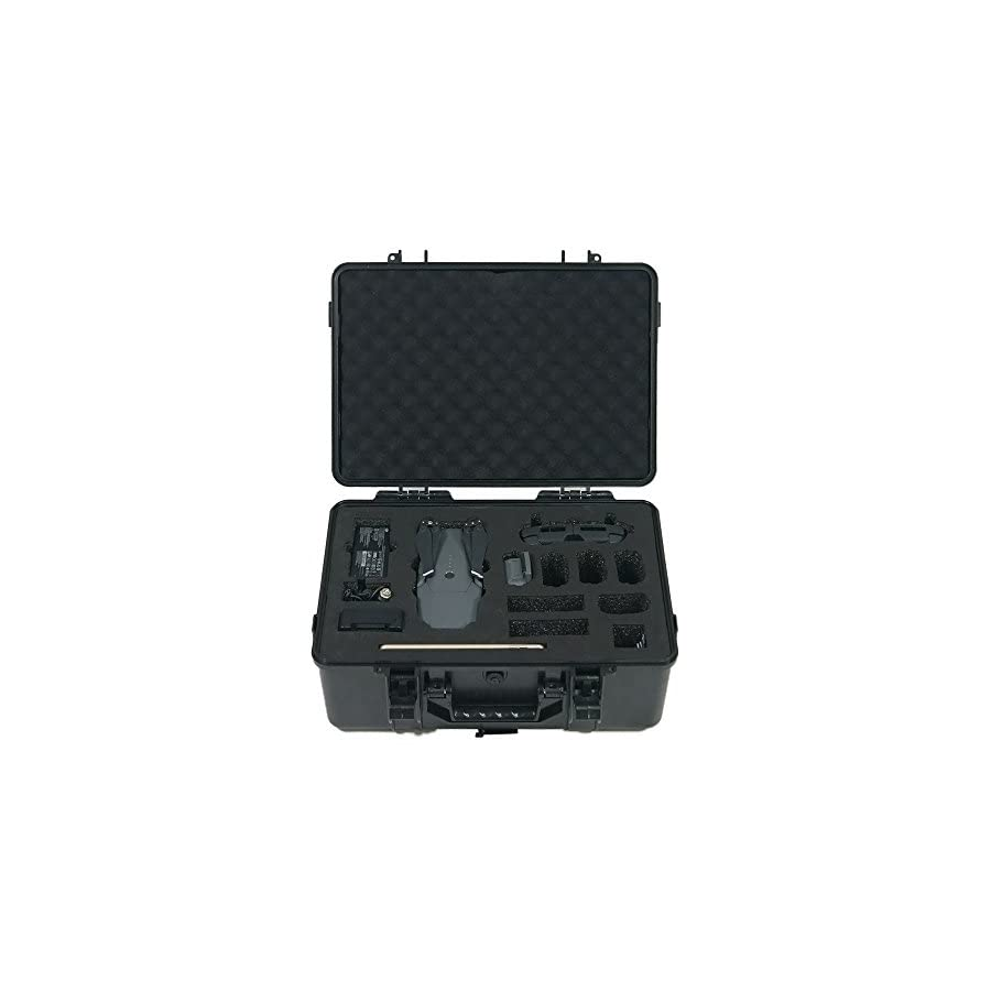 HUL Military Spec Waterproof Carrying Case for DJI Mavic Pro with iPad Mini and 4 Extra Batteries (Black)