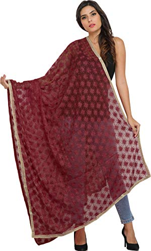 Exotic India Phulkari Dupatta from Punjab with Embroidered Bootis in Self-color Thread - Color Riored (Punjabi Best Shayari Ever)