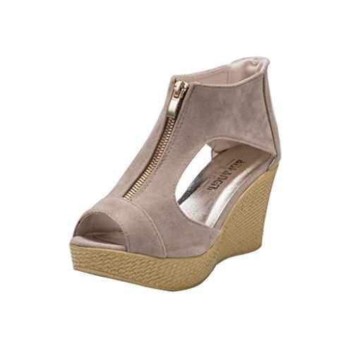 (Women Wedges Sandals Leedford Summer High Platform Heel Peep Toe Cut Out Wedges Chunky Comfort Outdoor Elegant Casual Sandals Zipper Shoes (US:7, Khaki))