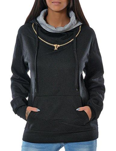 Damen Kapuzen-Pullover Sweatshirt-Jacke Hoodie (weitere Farben) No 14179, Farbe:Schwarz;Größe:42 / XL