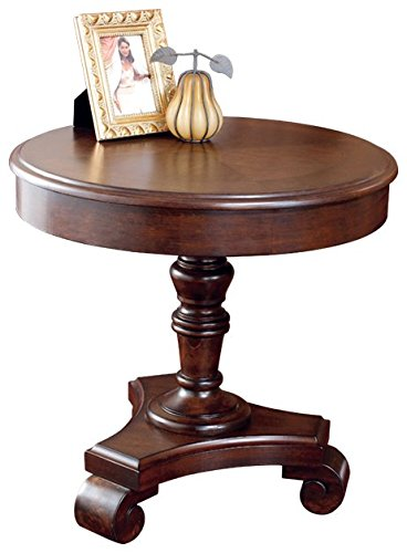 Ashley Furniture Signature Design - Brookfield Old World Rustic End table - European Style - Round - Dark Brown by Signature Design by Ashley