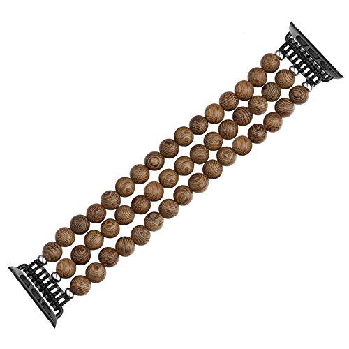 Vintage Wood Band for Apple Watch Band, CRAZY PANDA Men Women Handmade Wood Beaded Elastic Stretch Bracelet Creative Desgin Compatible Apple Watch(42mm/44mm ()