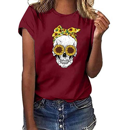 Women Skull Print Short Sleeve Tops Multicolor Loose T Shirt Blouse Bird Womens Cap Sleeve T-shirt