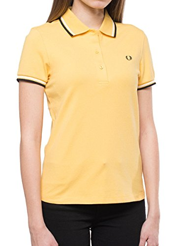 Fred Perry Twin Tipped Polo Shirt for Women Sunset Gold/White/Black, (Tipped Twin Set)