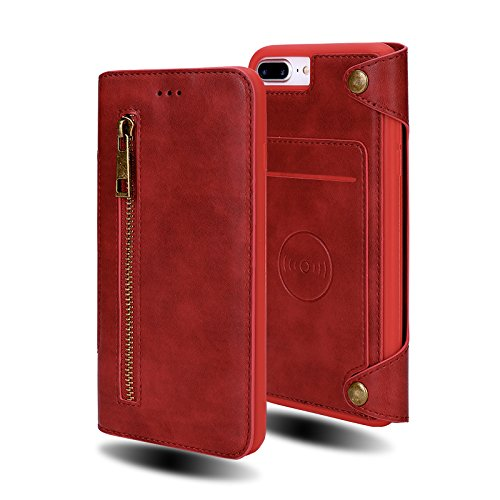 iPhone 7 Plus Case, iPhone 8 Plus Case, Wallet Case Folio Flip PU Leather Case Magnetic Detachable Slim Back Cover Hard Case Card Credit Card Holder Slot (Red for iphone7plus/iphone8 Plus) by Madowl