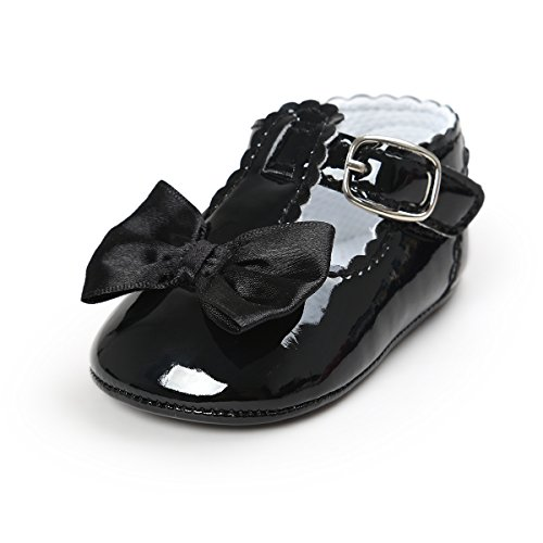 BENHERO Baby Girls Mary Jane Flats with Bowknot Non-Slip Toddler First Walkers Princess Dress Shoes (12-18 Months M US Infant, Black)