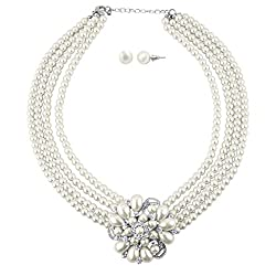 Faux Pearl Floral Flower Multi Row Statement Necklace