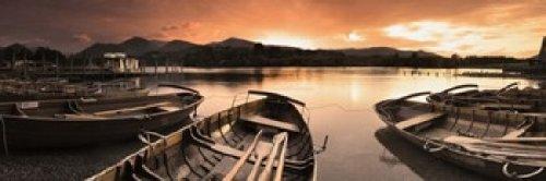 Posterazzi Boats Derwent Water Keswick English Lake District Cumbria England Poster Print, (18 x 6) ()