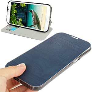 Generic Wood Texture Ultrathin Leather Case Cover with Holder / Credit Card Slots for Samsung Galaxy Mega 6.3 / i9200 Dark Blue
