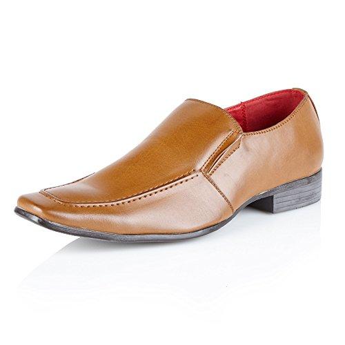 Shoe Avenue Smart con forro de piel para hombre (Slip On Zapatos de boda formal Office Casual Party Dress Shoes Tamaño canela