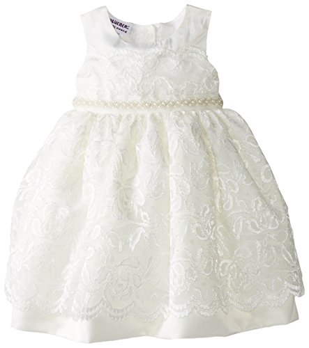 Blueberi Boulevard Baby Girls' Sleeveless Lace Beaded Waist Dress, White, 18 Months (Blueberi Boulevard Dress)