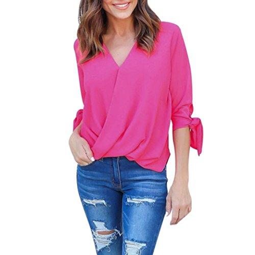 Women Long Sleeve T Shirt,Napoo Hot V Neck Chiffon Sleeve Bandage Solid Tops (M, Hot Pink)