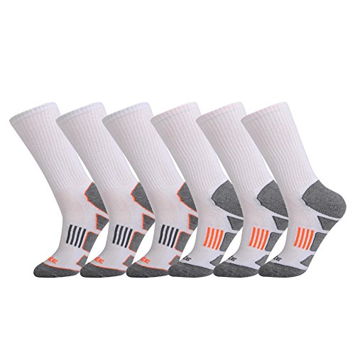 Athletic Tennis Crew Socks - JOYNÉE Men's 6 Pack Athletic Cushion Crew Hiking Socks Performance Running Socks
