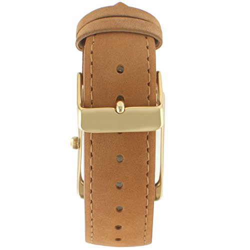 Peugeot Women's 14K Gold Plated Tank Leather Dress Watch with Roman Numerals Dial