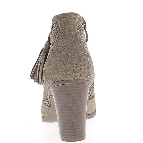 Bottines basses femme taupe à gros talon de 8cm look daim et pompons
