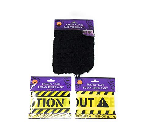 Halloween Tape and Black Creeky Cloth Bundle. Halloween Party Decor Bundle Includes Caution Tape, Keep Out Tape and One Black Creepy Cloth