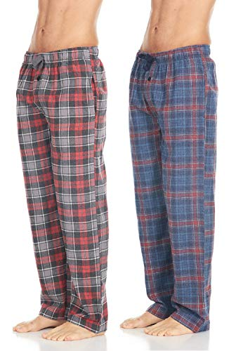Men's Cotton Super-Soft Flannel Plaid Pajama Pants/Lounge Bottoms with Pockets, Red Grey/Blue Red, Small
