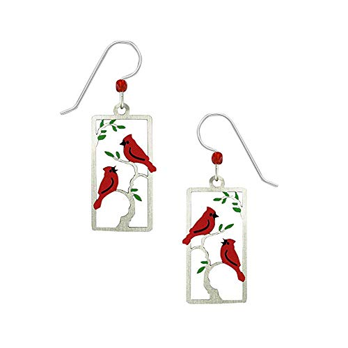 Sienna Sky Artisan Cardinal Earrings with Organza Pouch and Gift Box