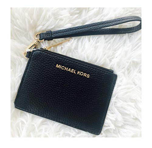Michael Kors Jet Set Travel Coin Purse Wristlet Leather Card Case Black