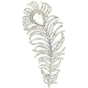 Tienda de broches Extra grande de plata y cristal Swarovski de plumas de pavo real broche AB