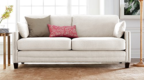 Elle Decor Bella Sofa with Nailheads, Fabric, Ivory - Classic silhouette Brings elegant style to any space Featuring nail head details along base and arms Soft, plush Cushions so you can curl up in comfort - sofas-couches, living-room-furniture, living-room - 41ou S5ZleL -