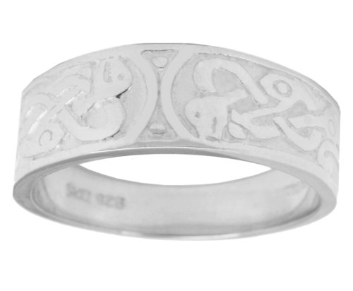 US Jewels And Gems Ladies 0.925 Sterling Silver Irish Celtic Wedding Ring Band (Size 6) by US Jewels And Gems