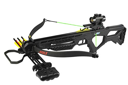 PSE Archery Jolt Hunting Crossbow Package – Recurve Limbs - 175 lb Draw Weight – Red Dot Scope – Rubber Coated Foot Stirrup – 250 FPS – Zombie Green Strings