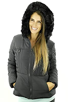 Sportoli Junior Women's Rouched Detail Winter Coat Hooded Short Puffer Jacket