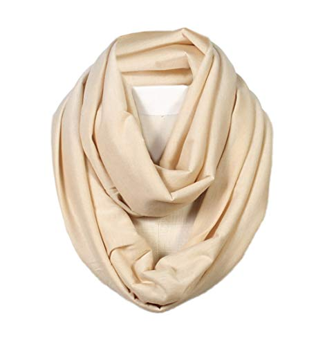 - Scarfand's Super Soft Light Weight Solid Color Infinity Loop Scarf (Beige)