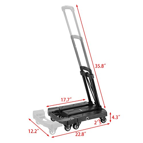 Ollieroo Cart Compact Personal Folding Hand Truck Luggage Cart with 6 wheels and Free Rope, 440 Lb Capacity Black by Ollieroo (Image #6)