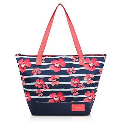 Bolsa Com Alça Ombro Estampa Floral Com Ziper Jacki Design Azul Escuro