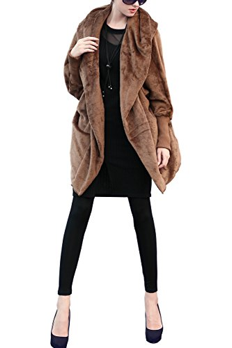 Women ELLAZHU DY114 Hooded Coat Deep Size Winter Fleece Khaki Batwing Plus Woolen OqBq6xzd