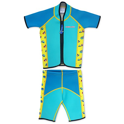Neoprene Two Wetsuit Piece (Cheekaaboo Twinwets Kids & Toddler Two Piece Swimsuit for Boys and Girls, 3-4 Years, Blue)