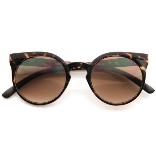 zeroUV - Retro Fashion Round Circle Horned Rim Cateye Sunglasses w/ Keyhole Bridge - Bridge Keyhole Sunglasses