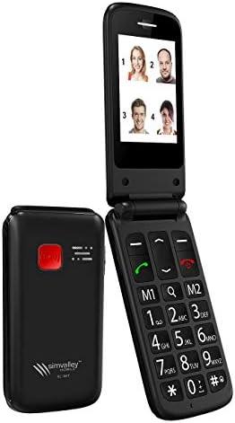 Simvalley - Teléfono móvil móvil con llamada de emergencia y estación de carga