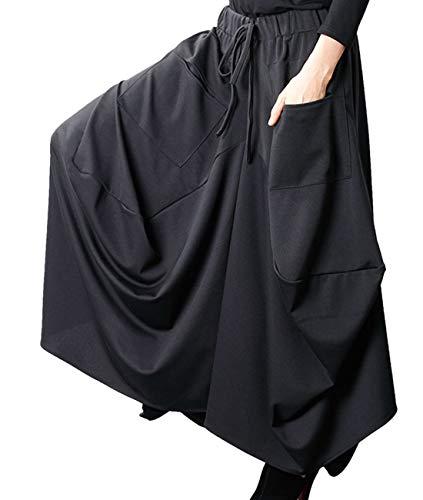 YESNO CE1 Women Fashion Casual Long Maxi Skirt Elastic Waist Large A Skirt Irregular Hemline Unique Stitched/Pockets